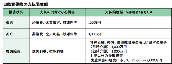 自賠責保険の補償内容と保険料ー表1