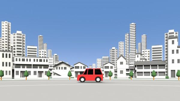 住宅地を走る車