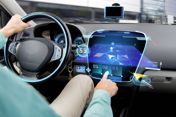 transport, destination, modern technology and people concept - close up of man driving car with navigation system on board computer