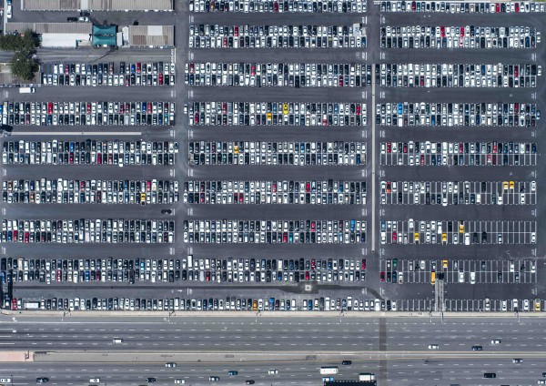 Huge parking aerial photo